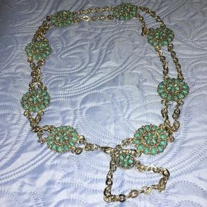 Accessories - Boho Silver plate & Faux Turquoise Chain Belt